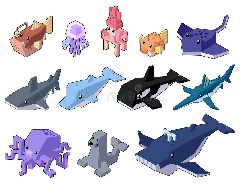 Set vector illustration of cute isometric aquatic animals in minimal style. royalty free stock images