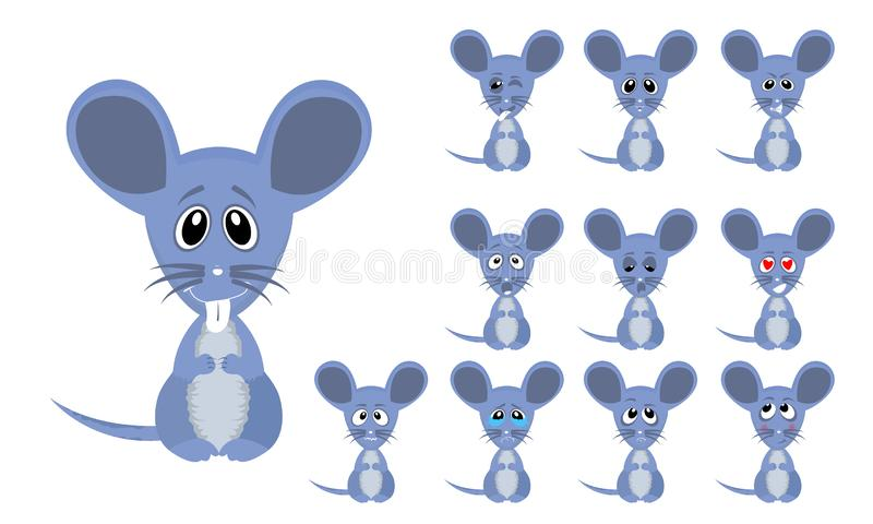 Set of Vector illustration funny cartoon little grey mouse with facial Expressions. High quality and very clean Vector illustration set of cute and funny cartoon royalty free illustration