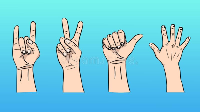 Vector illustration of the isolated gestures by hands royalty free illustration