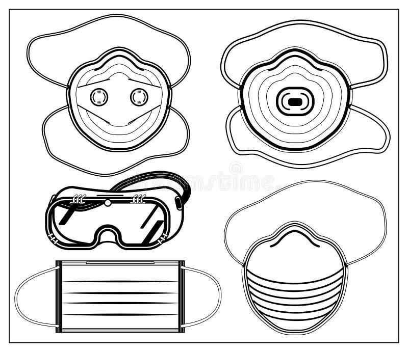 Monochrome Smoke Logo Set:  Set Of Vector Illustration With Outlines Of Medical