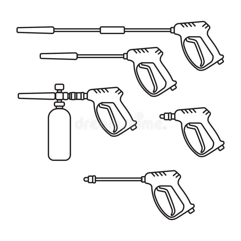 Set of vector illustration pressure washer machine silhouette royalty free illustration
