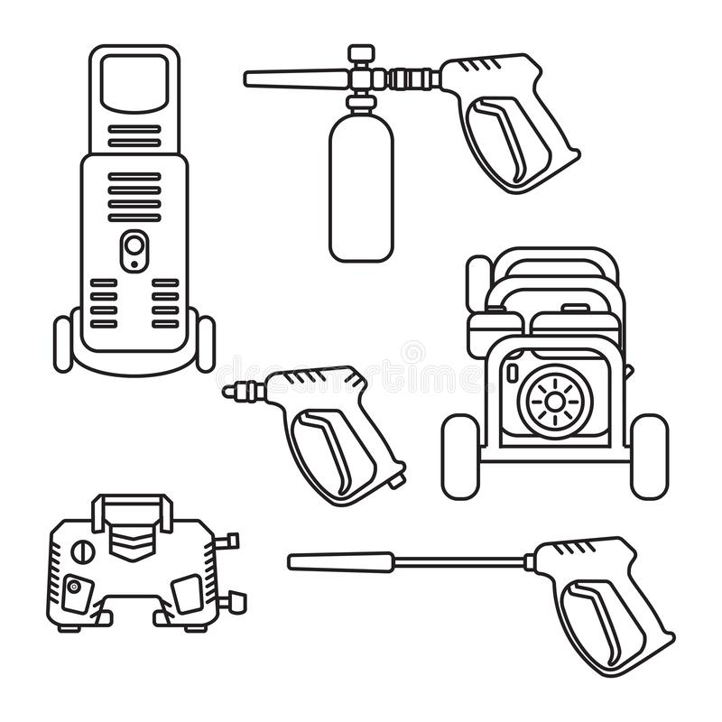 Set of vector illustration pressure washer silhouette royalty free illustration