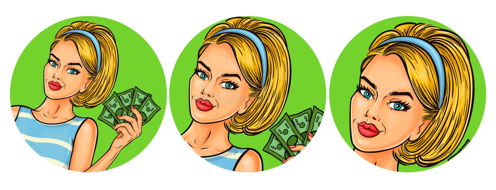 Set of vector illustration, womens pop art round avatars icons. Vector illustration, womens pop art round avatar icon for users of social networking, blogs. Girl vector illustration