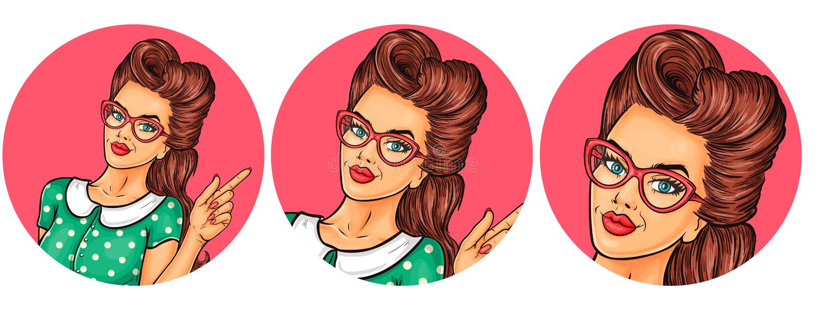 Set of vector illustration, womens pop art round avatars icons. Vector illustration, womens pop art round avatar icon for users of social networking, blogs. Girl royalty free illustration