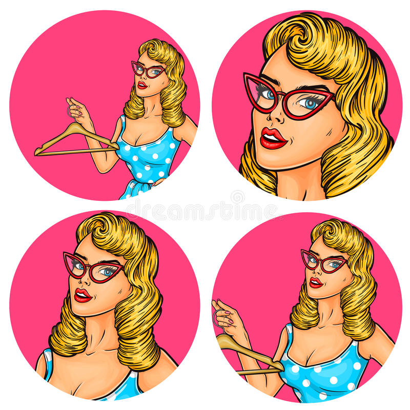 Set of vector illustration, womens pop art round avatars icons. Vector illustration, womens pop art round avatar icon for users of social networking, blogs stock illustration