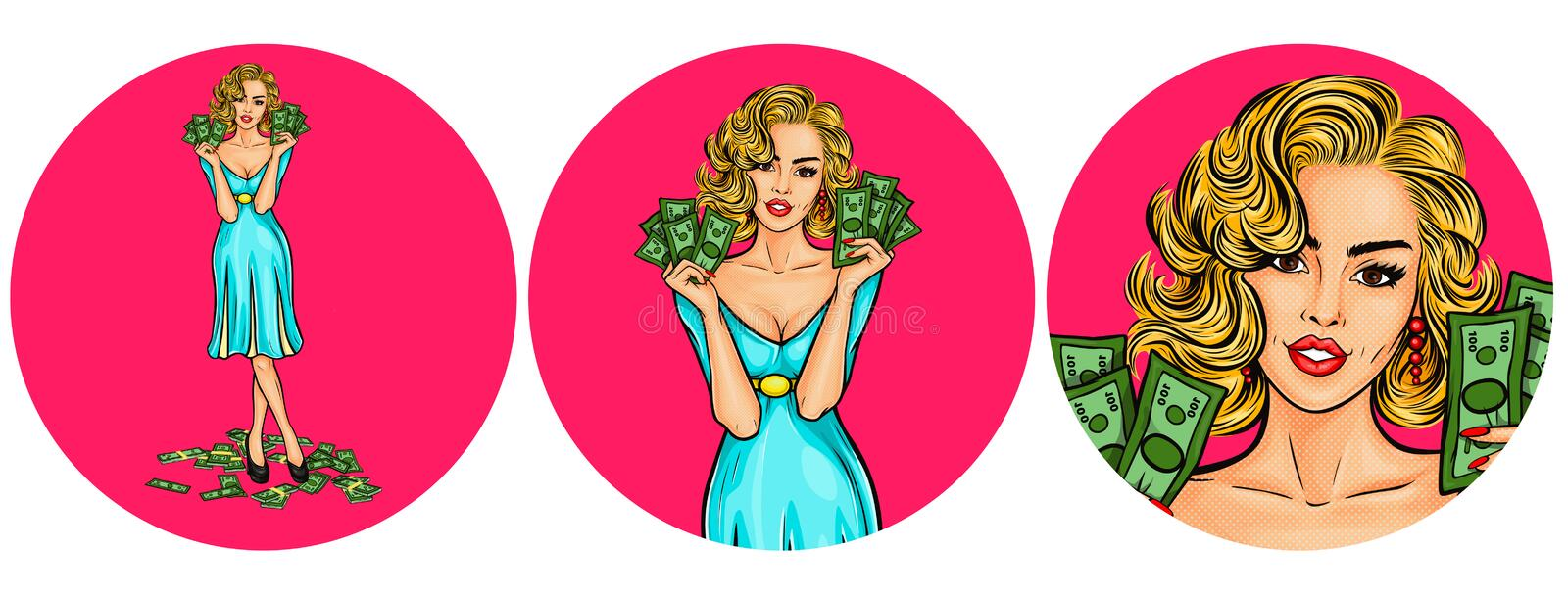 Set of vector illustration, womens pop art round avatars icons. For users of social networking, blog, on white stock illustration