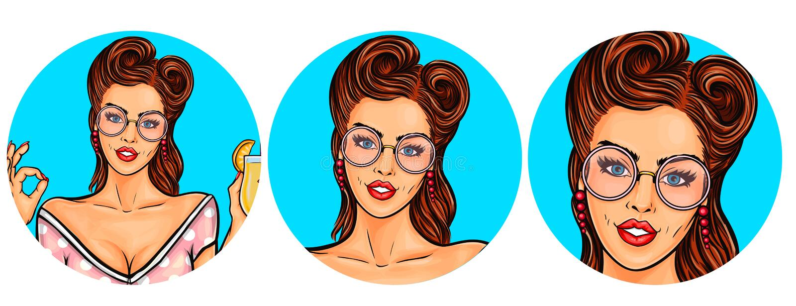 Set of vector illustration, womens pop art round avatars icons. For users of social networking, blogs. Girl is holding a glass of cocktail vector illustration