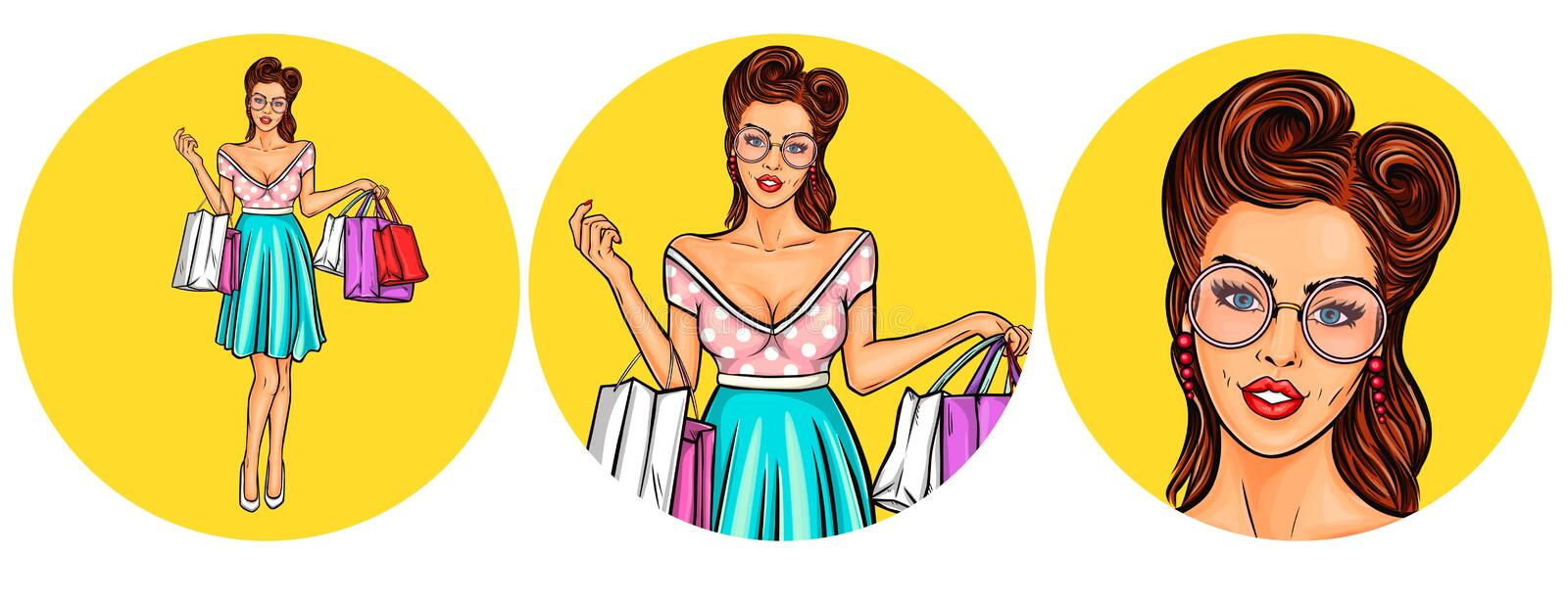 Set of vector illustration, womens pop art round avatars icons. For users of social networking, blogs. Girl keeps shopping bags stock illustration