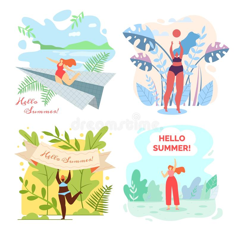 Set Vector Illustration is Written Hello Summer. Trips to Resort and Rest Summer by Water Bodies. Advertising Poster Travel Agency. Women Relax and Have Fun in vector illustration