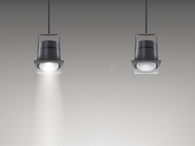 Set of vector illustrations of ceiling lamps. A set of vector illustrations of ceiling lamps with the light turned on and not in a realistic style royalty free illustration