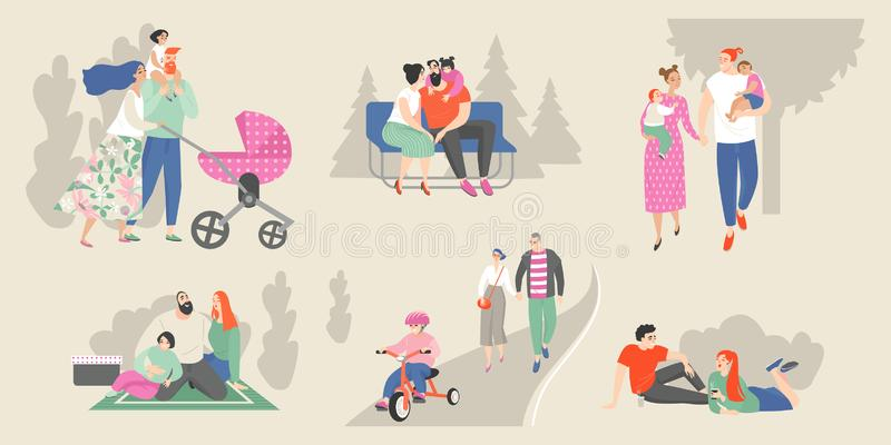 Set of vector illustrations  of families with children and young couples relaxing in the park vector illustration