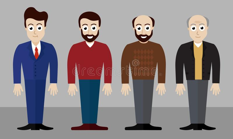 Set of vector illustrations of four men of different ages. And in different clothes and with different hair styles - flat design vector illustration