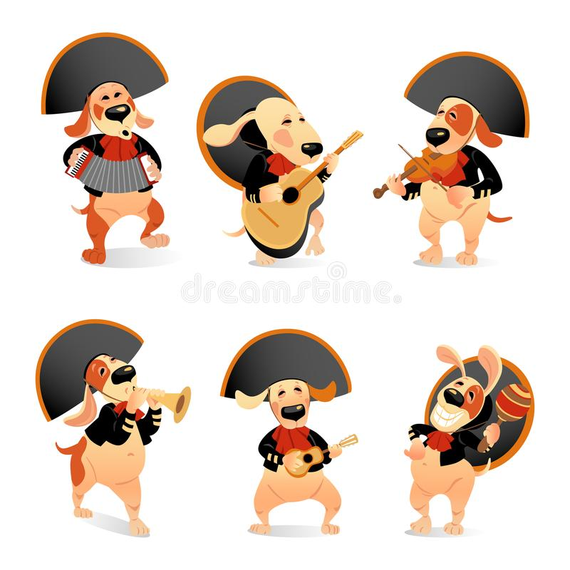 Set of vector illustrations of funny dogs in mariachi costumes with traditional musical instruments on a white background stock illustration
