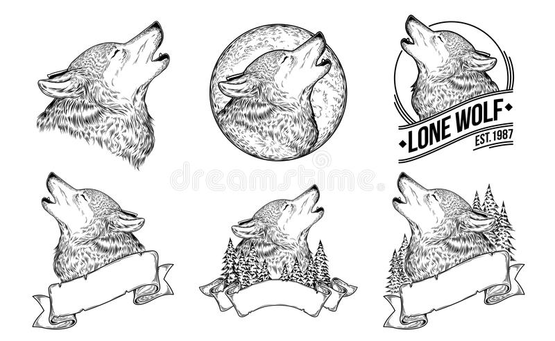 Set vector illustrations of a howling wolves. With ribbon, engraving. Print for T-shirts vector illustration