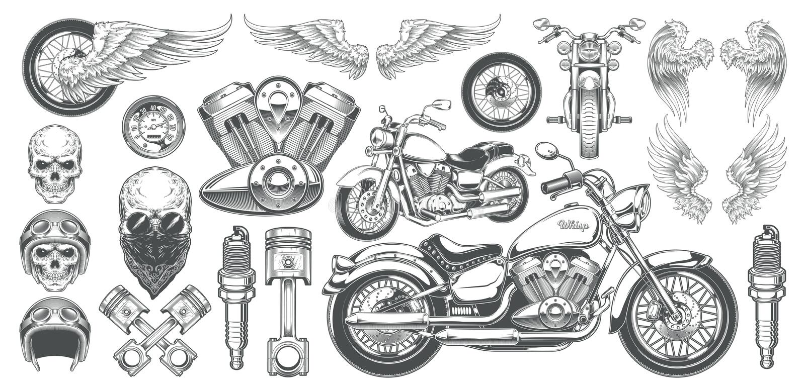 Set of vector illustrations, icons of vintage motorcycle in various angles, skulls, wings stock illustration