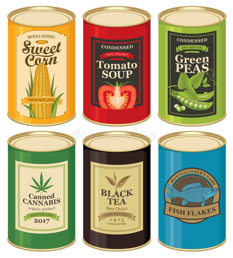 Set vector illustrations of a tin cans with labels stock illustration