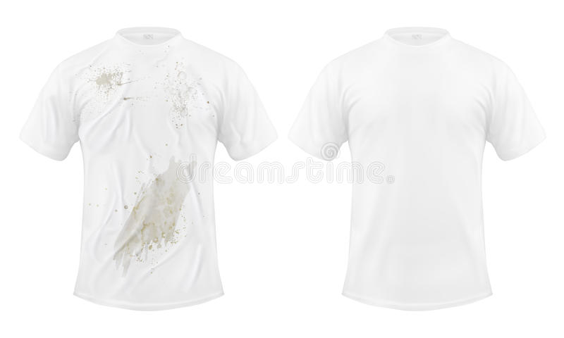 Set of vector illustrations of a white T-shirt with a dirty stain and clean, before and after dry cleaning. On a white background. Print, template, design vector illustration