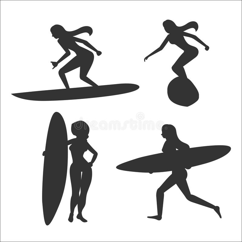 Set of vector illustrations with woman surfers vector illustration