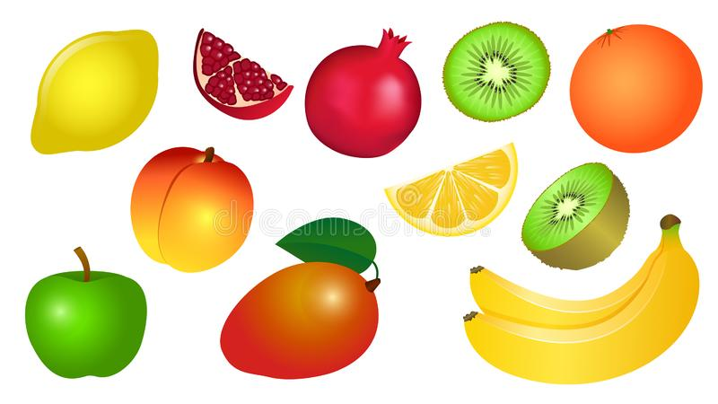Set of vector illustrations of yellow red green fruits stock photos
