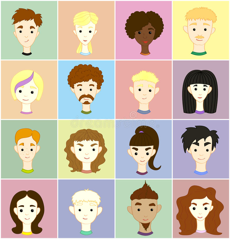 Set 16 vector images of people's faces stock illustration
