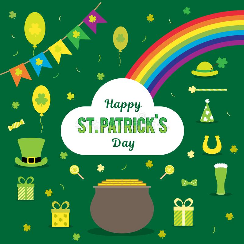 Set of vector images for St. Patrick`s Day. Bowler, coins, rainbow, horseshoe, hat, clover, flags, beer, on a green. Background. Signs and symbols in the vector illustration