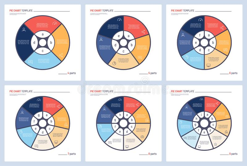 Set of vector infographic circle chart templates. 4 5 6 7 8 9 parts.  vector illustration