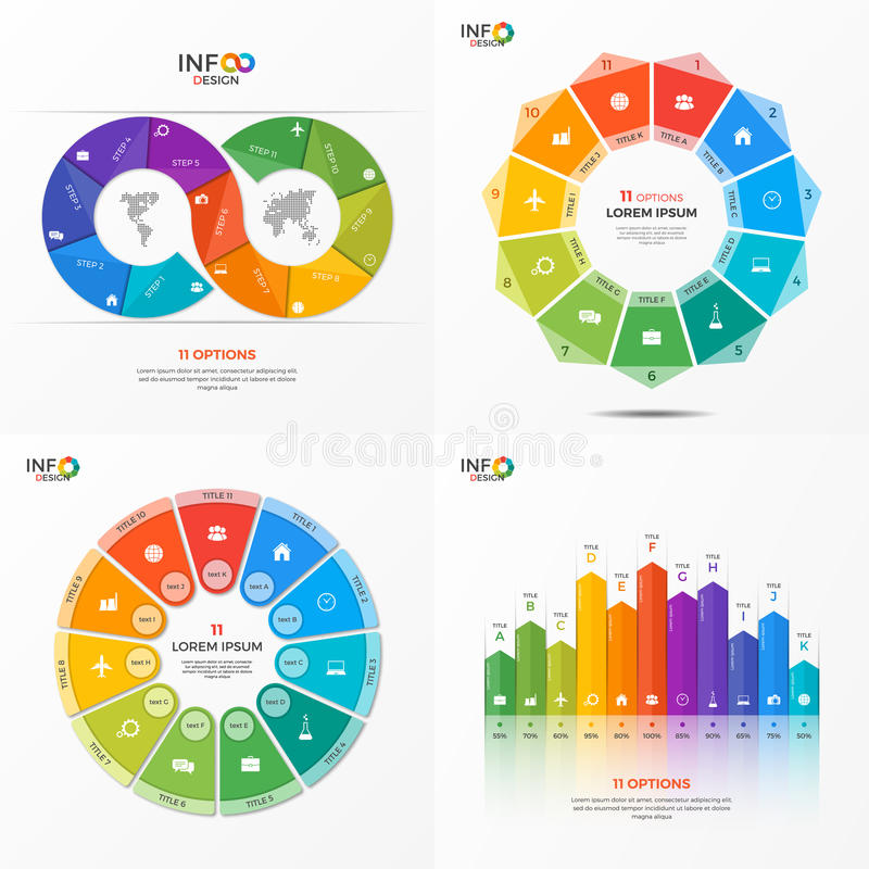 Set of vector infographic 11 options templates stock illustration