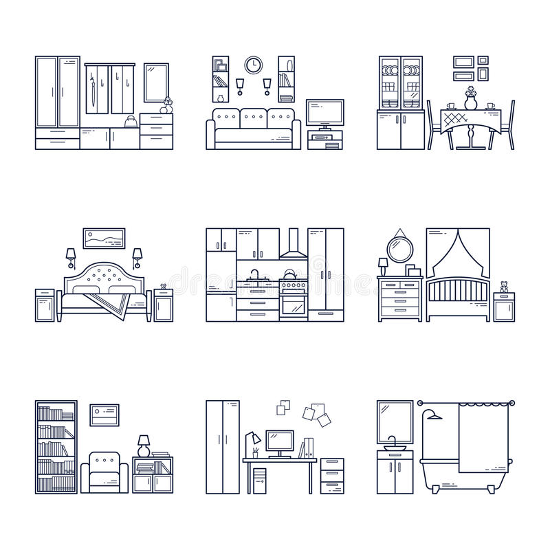 Set of vector interior design rooms in line black and white style. Illustration of living room, hallway, dining room royalty free illustration