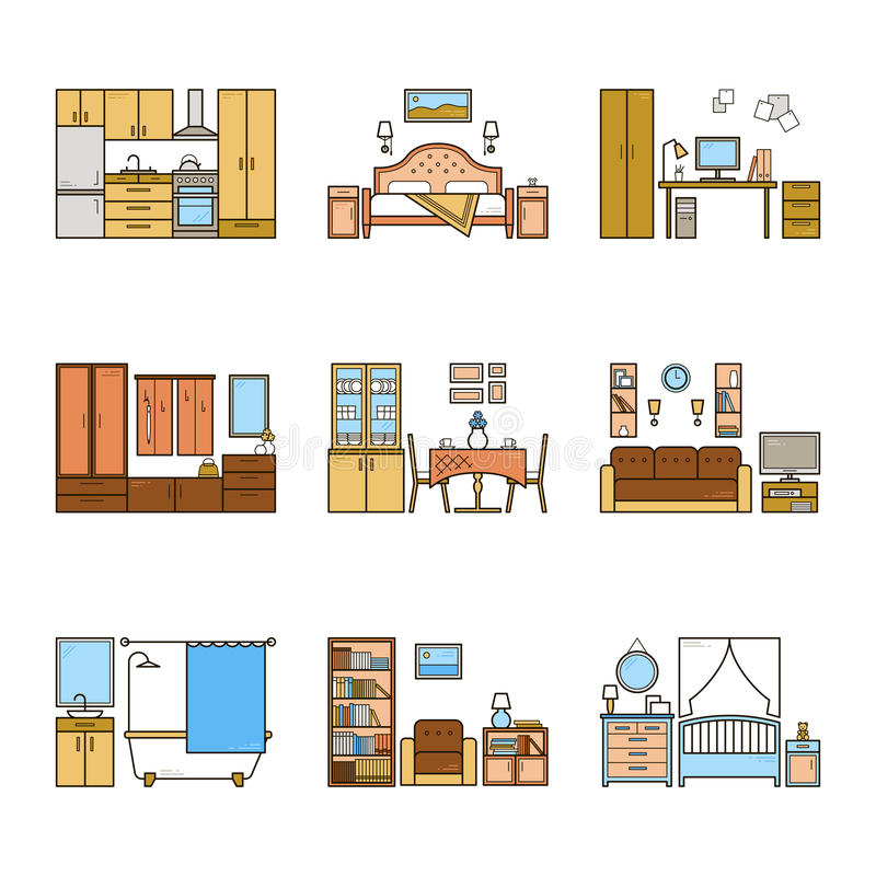 Set of vector interior design rooms in line colorful style. Harmonic illustration of living room, hallway, dining room vector illustration