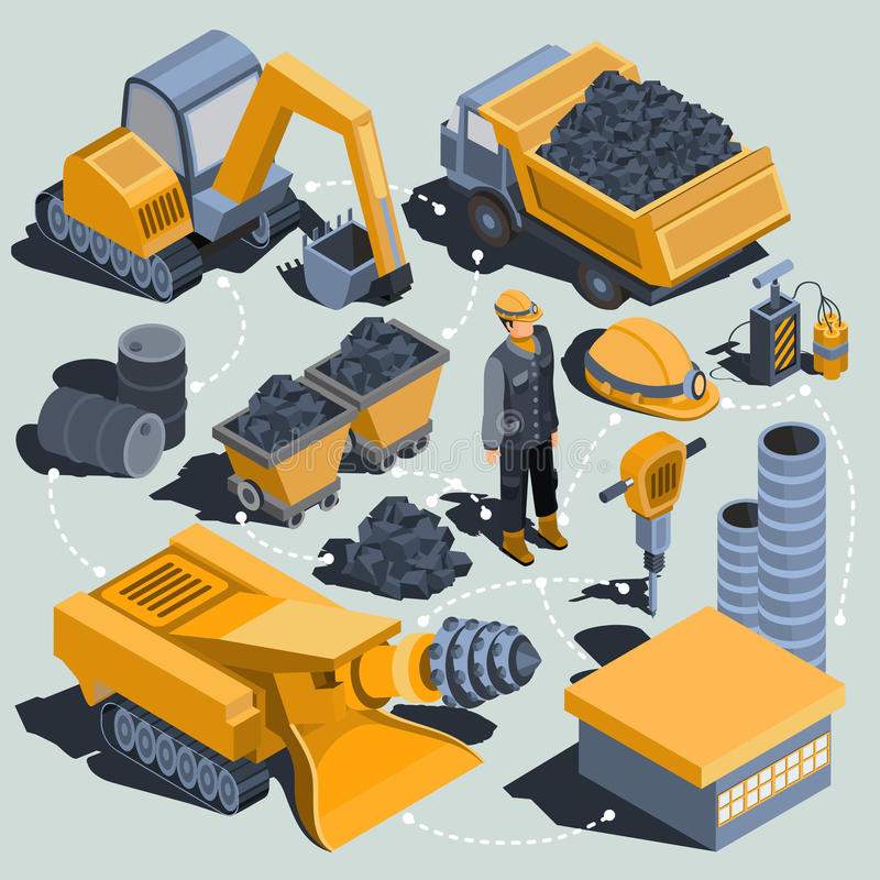 Set of vector isometric elements of the coal mining industry vector illustration