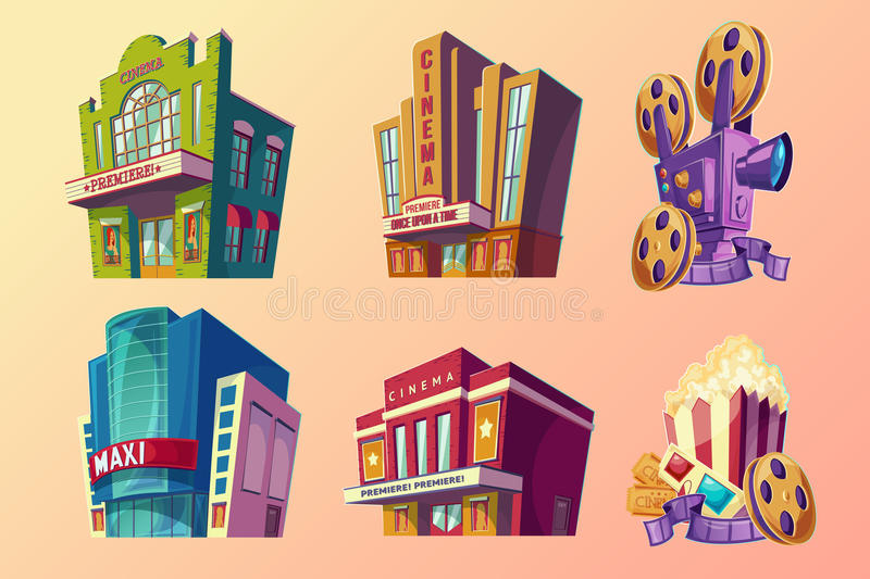 Set of vector isometric illustration of buildings cinema in cartoon style. Set of vector isometric illustration of buildings ancient and modern cinema, film vector illustration