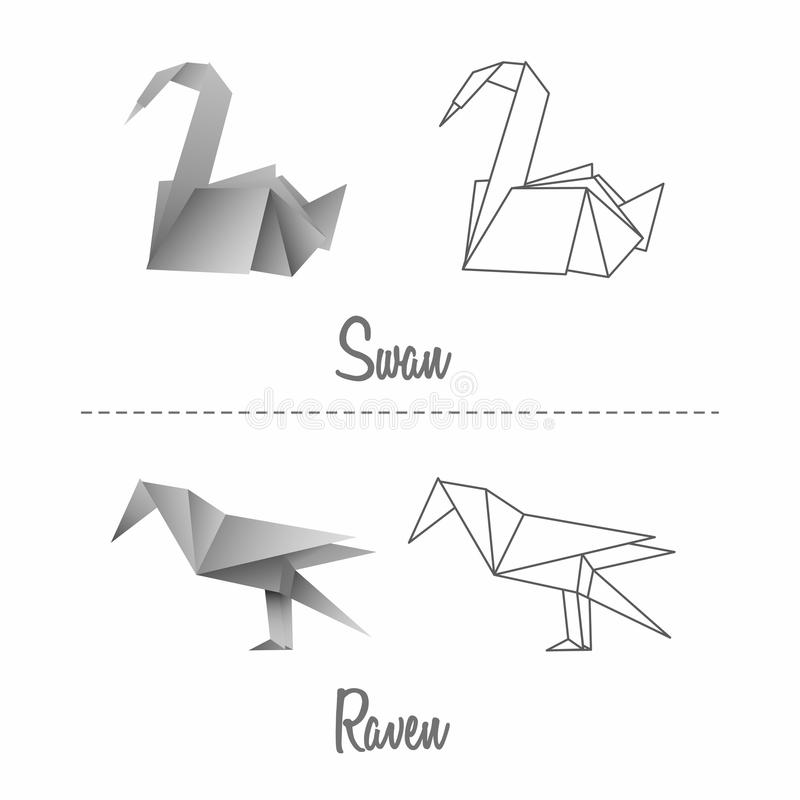 Download Set Of Vector Japanese Paper Origami Birds Stock