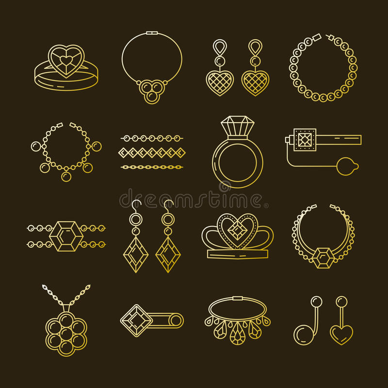 Set of vector jewelry line icons. Diamond luxury collection isolated on dark. Ring necklace earrings chain diadem vector illustration