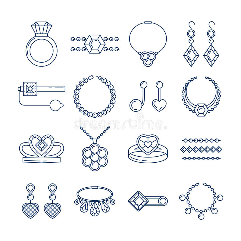 Set of vector jewelry line icons. Diamond luxury collection isolated on white. Ring necklace earrings chain diadem stock illustration