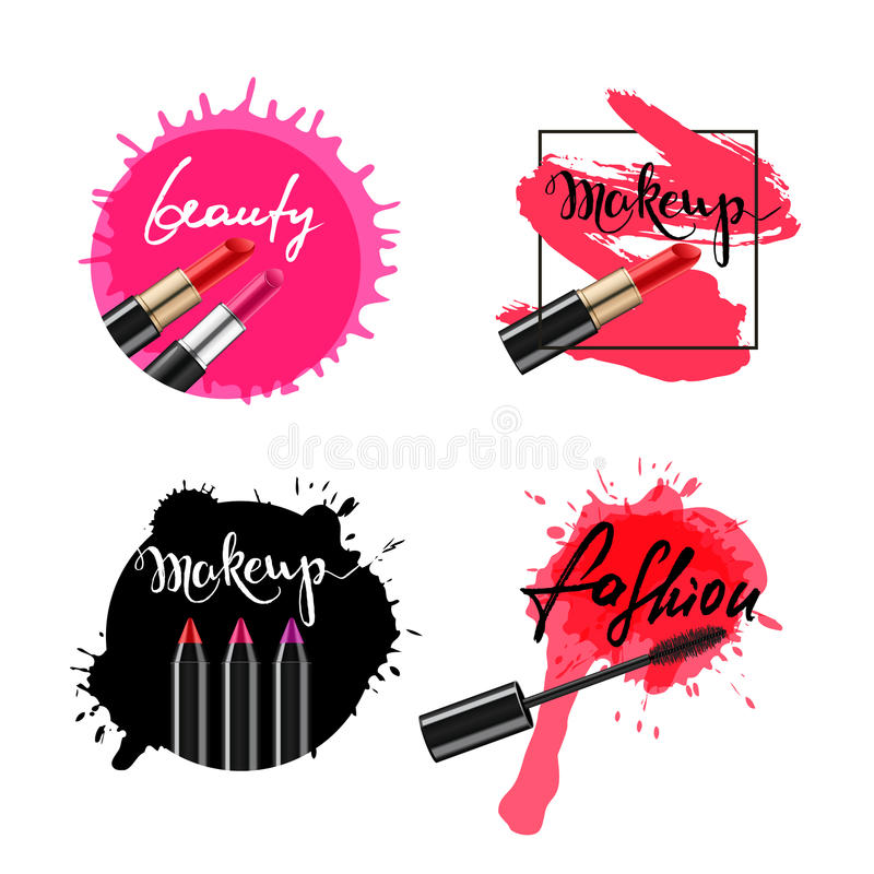 Set of vector labels, badges, banners with makeup cosmetic. royalty free illustration