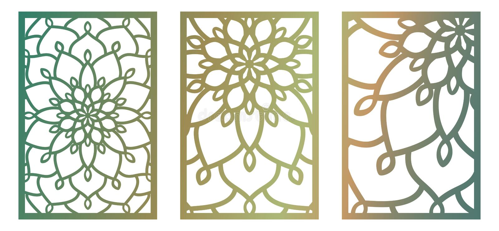 Set of Vector Laser cut panels. Abstract Pattern template for de vector illustration