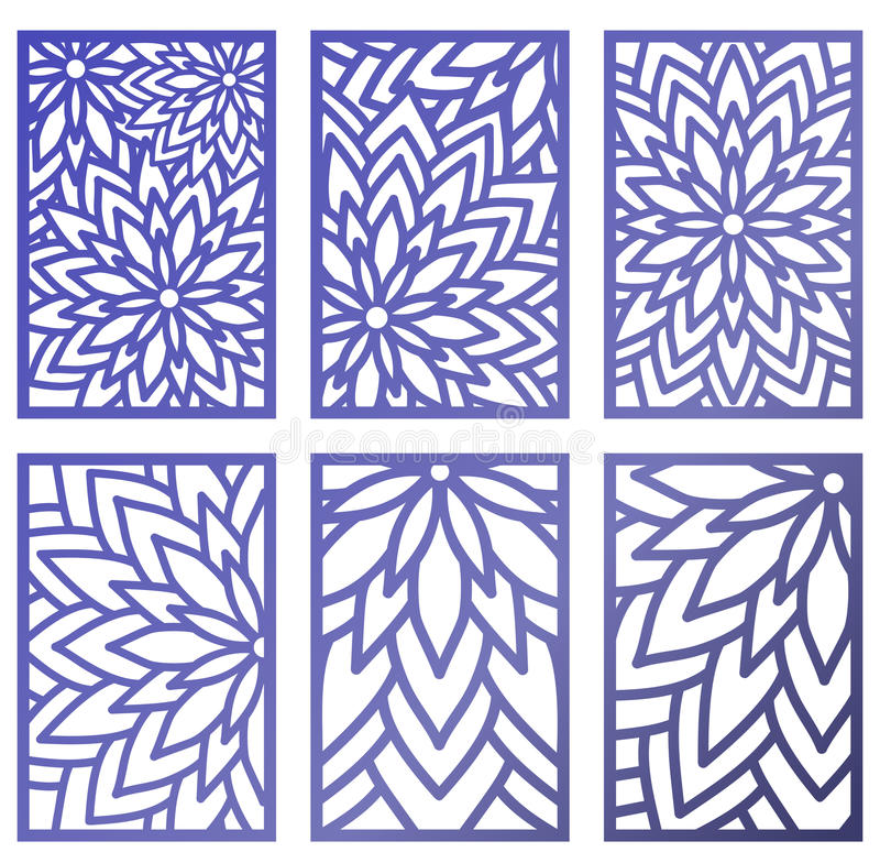 Cut Out Decorative Wall Panels : Set of vector laser cut panels abstract pattern template