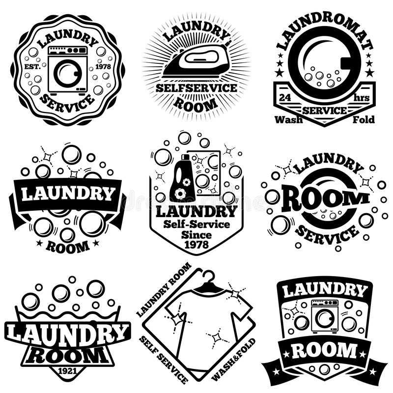Set of Vector Laundry badges. With bubbles, laundromat, detergent. Etc royalty free illustration