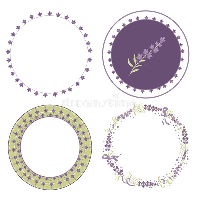 Set Vector lavender wreaths for design in the style of Provence, lavender flowers and objects to create a romantic gentle stock illustration