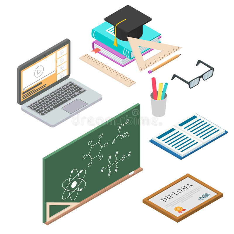 Set of vector learning concept. flat 3d isometric illustration. royalty free illustration