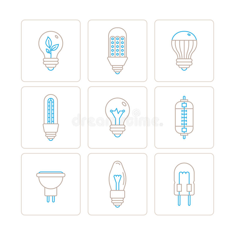 Set of vector light bulb icons and concepts in mono thin line style royalty free illustration