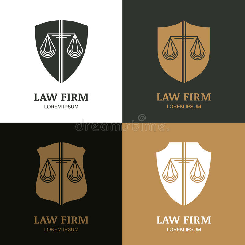 Set of vector line art vintage law firm logo template. Trendy abstract illustration of scales and shield. Design concept for law and legal business, heraldic royalty free illustration