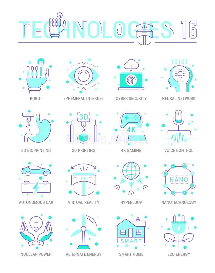Set Vector Line Flat Icons of Future Technologies vector illustration