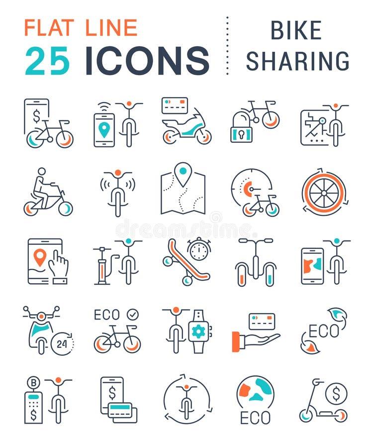 Set Vector Line Icons of Bike Sharing. vector illustration