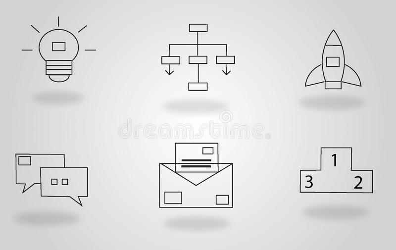 Vector illustration of thin line icons for business, banking, contact, social media, vector illustration
