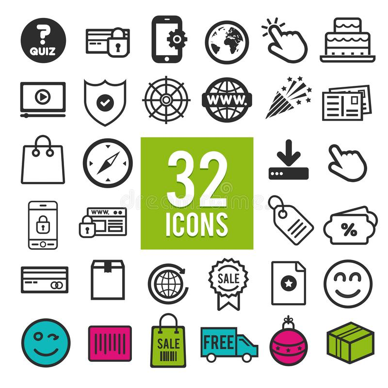 Set vector line icons in flat design with elements for mobile concepts and web apps. Collection modern infographic logo and pictog stock illustration