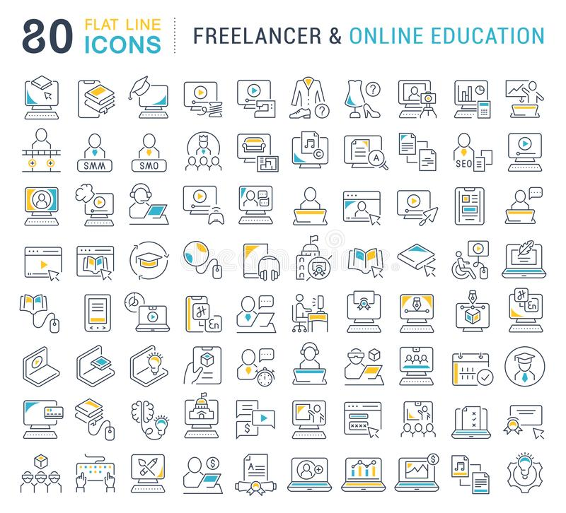 Set Vector Line Icons of Freelancer and Online Education. stock illustration