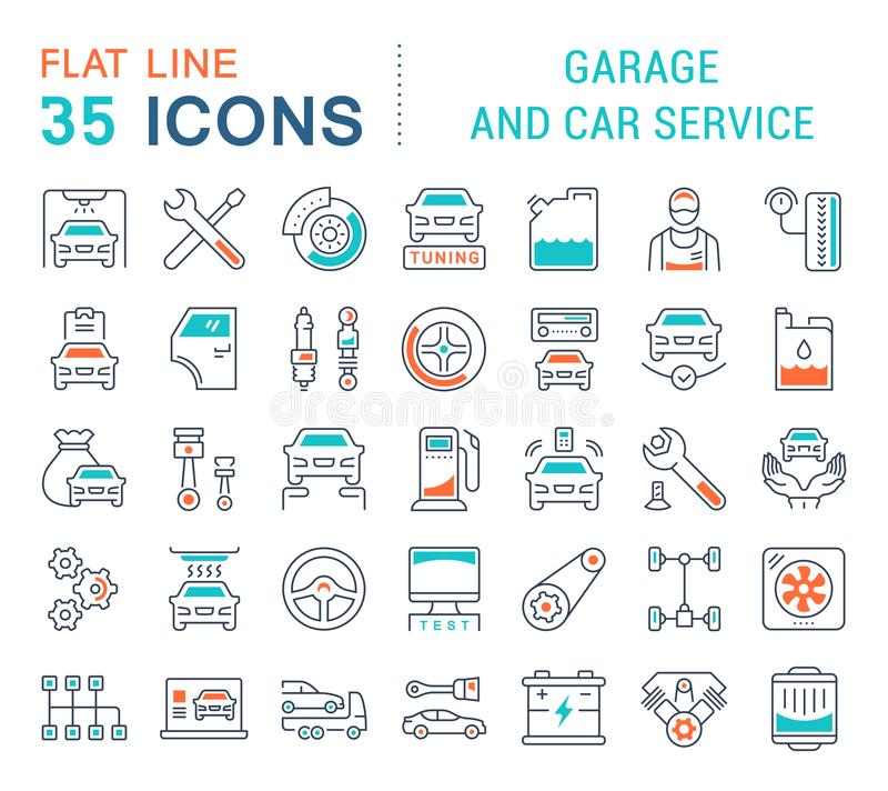 Set Vector Line Icons of Garage and Car Service. royalty free illustration