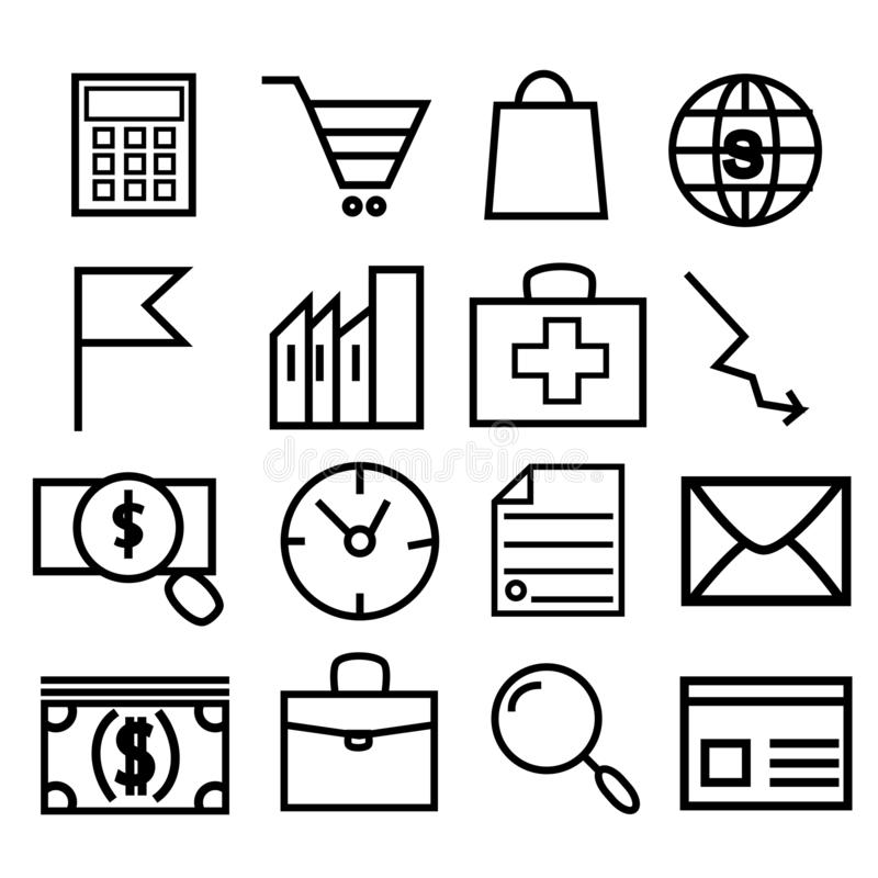Set vector line icons, sign and symbols in flat design medicine and health with elements for mobile concepts and web royalty free illustration