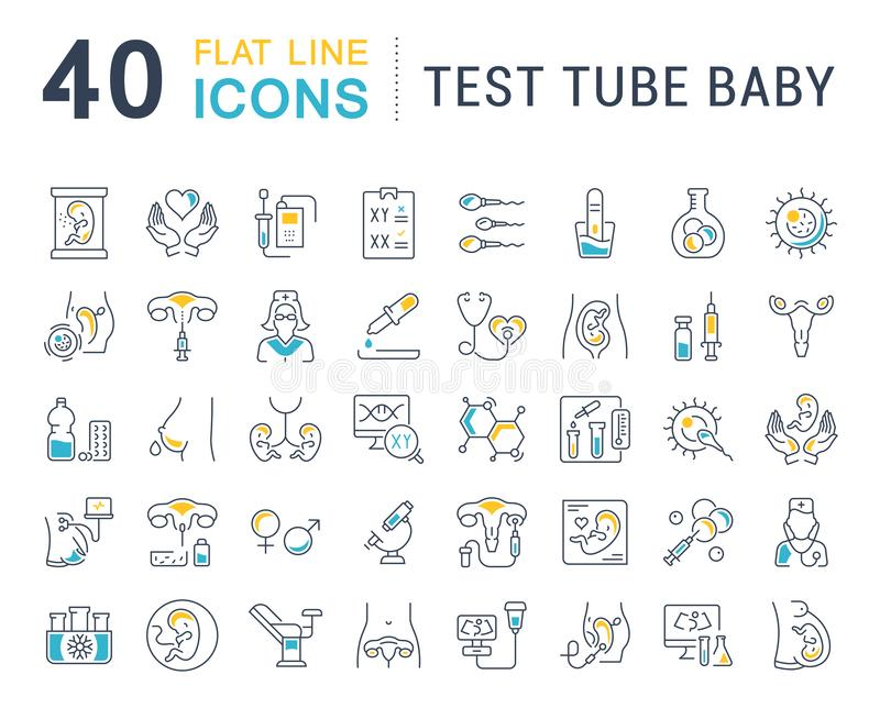 Set Vector Line Icons of Test Tube Baby. stock illustration